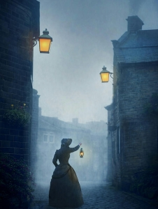 victorian-woman-with-an-oil-lamp-at-night-on-a-cobbled-street-lee-avison-1