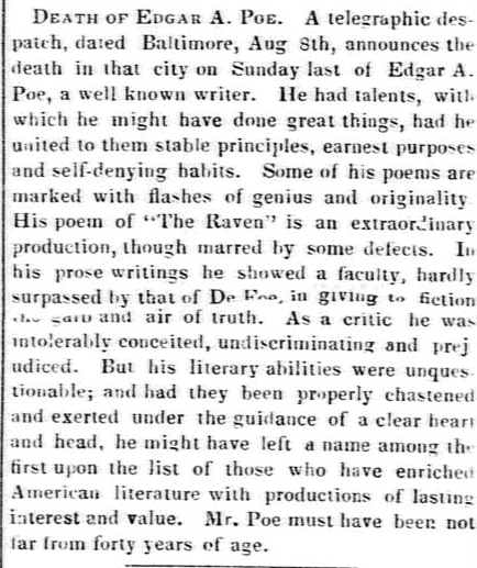 boston-evening-transcript-newspaper-1009-1849-edgar-allan-poe-death
