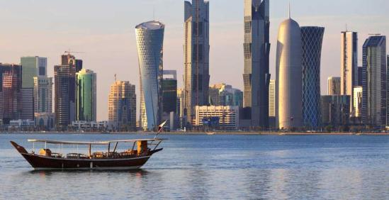 0_2_1_3-Middle-East-A-dhow-in-the-harbour-at-Doha,-Qatar