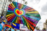 WEST HOLLYWOOD, CA - JUNE 11: A general view of atmosphere at the LA Pride ResistMarch on June 11, 2017 in West Hollywood, California. (Photo by Gabriel Olsen/FilmMagic)