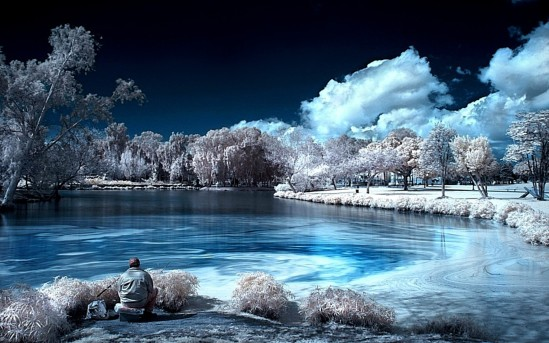 Fishing Snow Winter Lake Wallpaper Desktop Nature Download