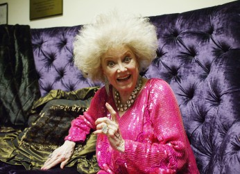 "BEL AIR, CA - MAY 3: Actress Phyllis Diller smiles backstage at the ""weSparkle Night - Take III"" Benefit at the Gindi Theatre on May 3, 2004 in Bel Air, California. ""weSparkle Night"" is a vaudeville variety show that raises funds for children?s programs at the weSPARK Cancer Support Center founded by actress Wendie Jo Sperber. (Photo by Frazer Harrison/Getty Images)"